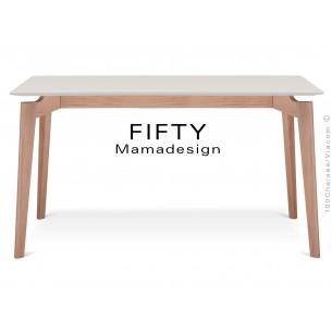 """Table rectangulaire en bois de hêtre """"FIFTY"""" plateau MDF finition couleur blanc cassé"""