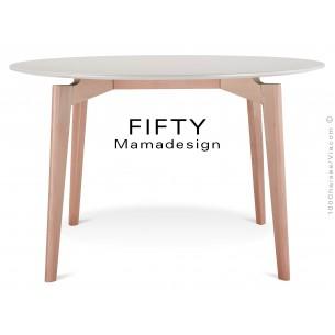 """Table ronde en bois de hêtre """"FIFTY"""" plateau MDF finition couleur blanc cassé"""