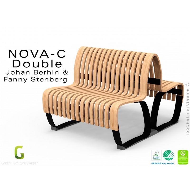 Banc NOVA DOUBLE module droit assise bois, finition Bouleau naturel, structure métal - 2 modules