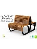 Banc NOVA DOUBLE module droit assise bois, finition vernis noyer, structure métal - 2 modules