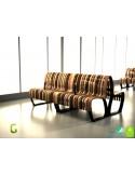Exemple, banc double NOVA module droit assise bois mixe (mélange), structure métal - 2 modules