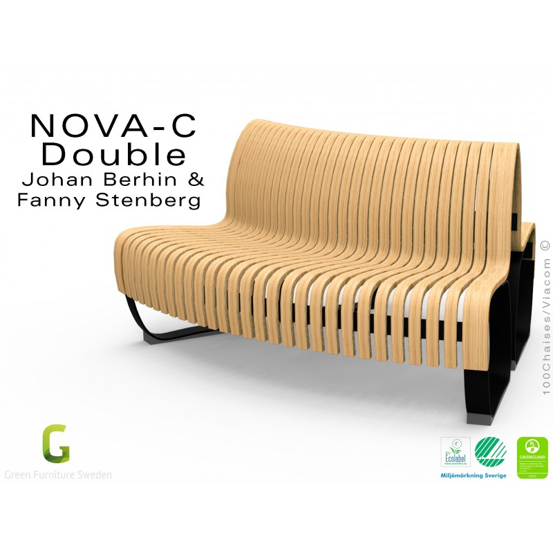 Banc NOVA DOUBLE module courbe 45° assise bois naturel, structure métal - 2 modules