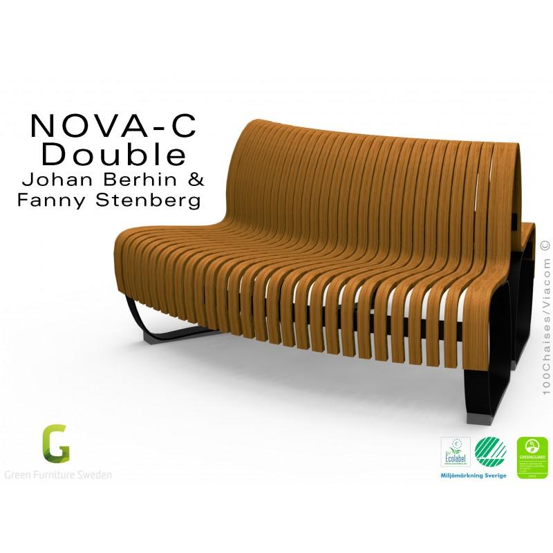 Banc dos à dos courbe NOVA double assise bois structure métal - 2 ...