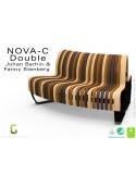 Banc NOVA DOUBLE module courbe 45° assise bois finition mix (mélange), structure métal - 2 modules