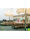 Banc NOVA DOUBLE module courbe 45° assise bois structure métal - 2 modules