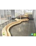 Exemple banc NOVA DOUBLE module courbe 45° assise bois structure métal - 2 modules