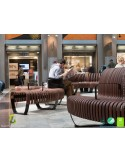 Exemple banc NOVA DOUBLE module courbe 45°, option accoudoirs, assise bois structure métal - 2 modules