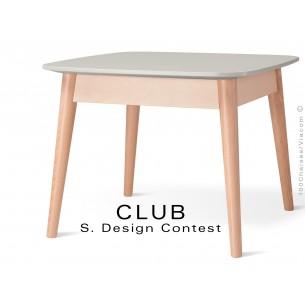 Petite table CLUB en bois de hêtre plateau MDF fintion couleur blanc cassé