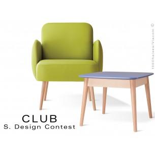 Petite table CLUB en bois de hêtre plateau MDF fintion couleur au choix