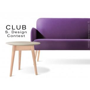 Petite table ronde CLUB en bois de hêtre plateau MDF fintion couleur au choix