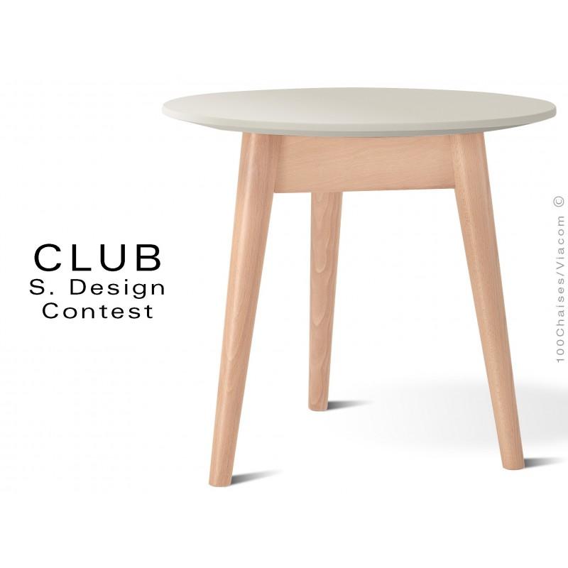 Petite table ronde CLUB en bois de hêtre plateau MDF fintion couleur blanc cassé
