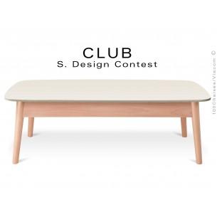Petite table rectangulaire CLUB en bois de hêtre plateau MDF fintion couleur blanc cassé