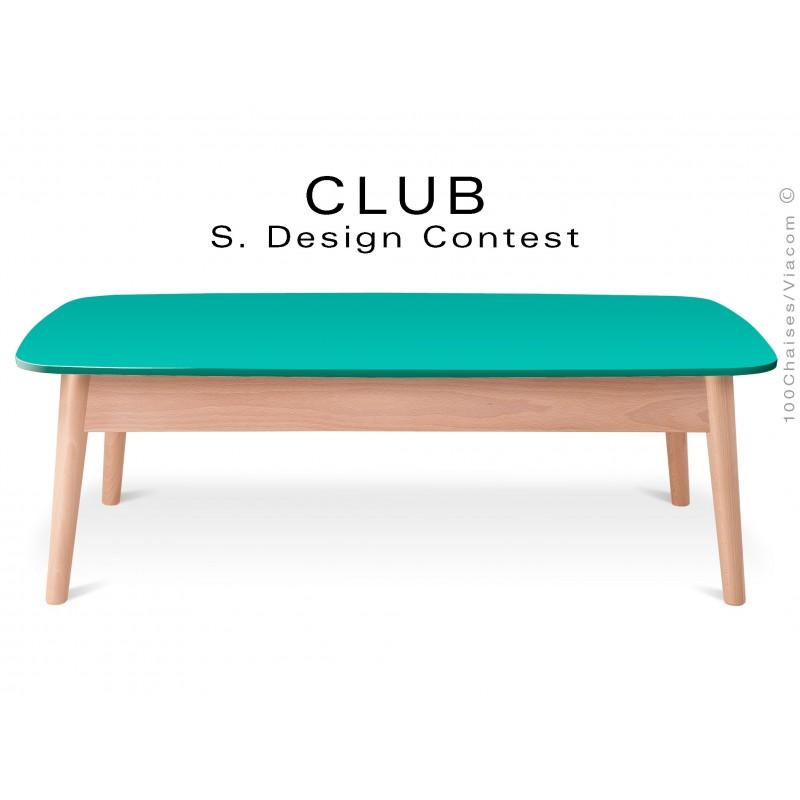 Petite table rectangulaire CLUB en bois de hêtre plateau MDF fintion couleur vert