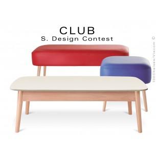 Petite table rectangulaire CLUB en bois de hêtre plateau MDF fintion couleur au choix
