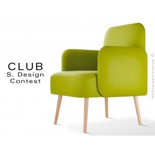 Fauteuil CLUB assise et dos capitonnés habillage cuir synthétique couleur vert 311