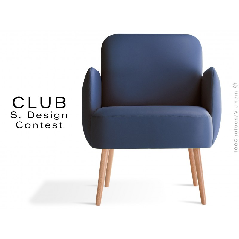Fauteuil CLUB assise et dos capitonnés habillage cuir synthétique couleur bleu 319