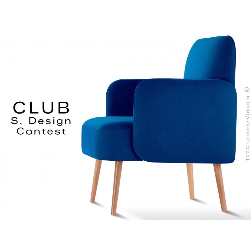 Fauteuil CLUB assise et dos capitonnés habillage 100% laine, bleu 116