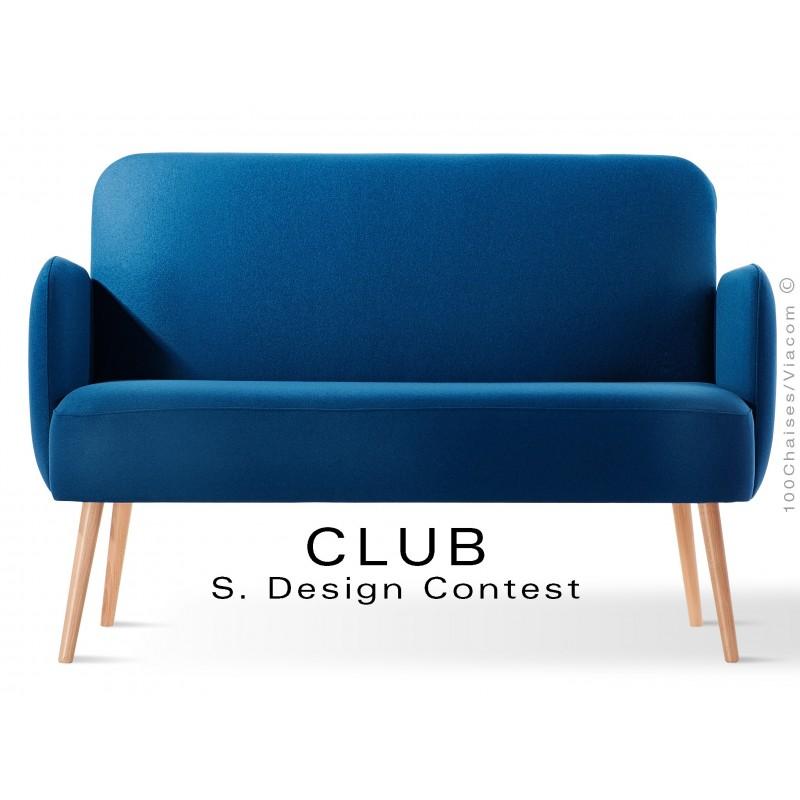 Banquette CLUB assise et dos capitonnés habillage 100% laine feutre bleu 116