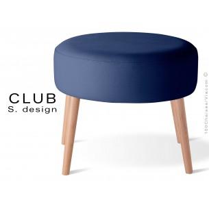 Pouf ou repose-pieds rond CLUB assise capitonnée habillage cuir synthétique, couleur bleu