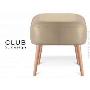 Pouf ou repose-pieds carré CLUB assise capitonnée habillage cuir synthétique, couleur sable.
