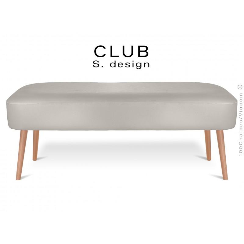 Pouf ou repose-pieds rectangulaire CLUB assise capitonnée habillage cuir synthétique, couleur gris clair