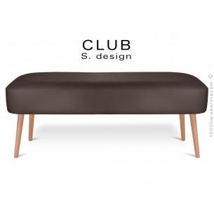 Pouf ou repose-pieds rectangulaire CLUB assise capitonnée habillage cuir synthétique, couleur taupe