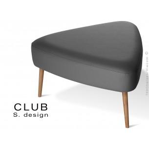 Pouf ou repose-pieds triangulaire CLUB assise capitonnée habillage cuir synthétique, couleur noir