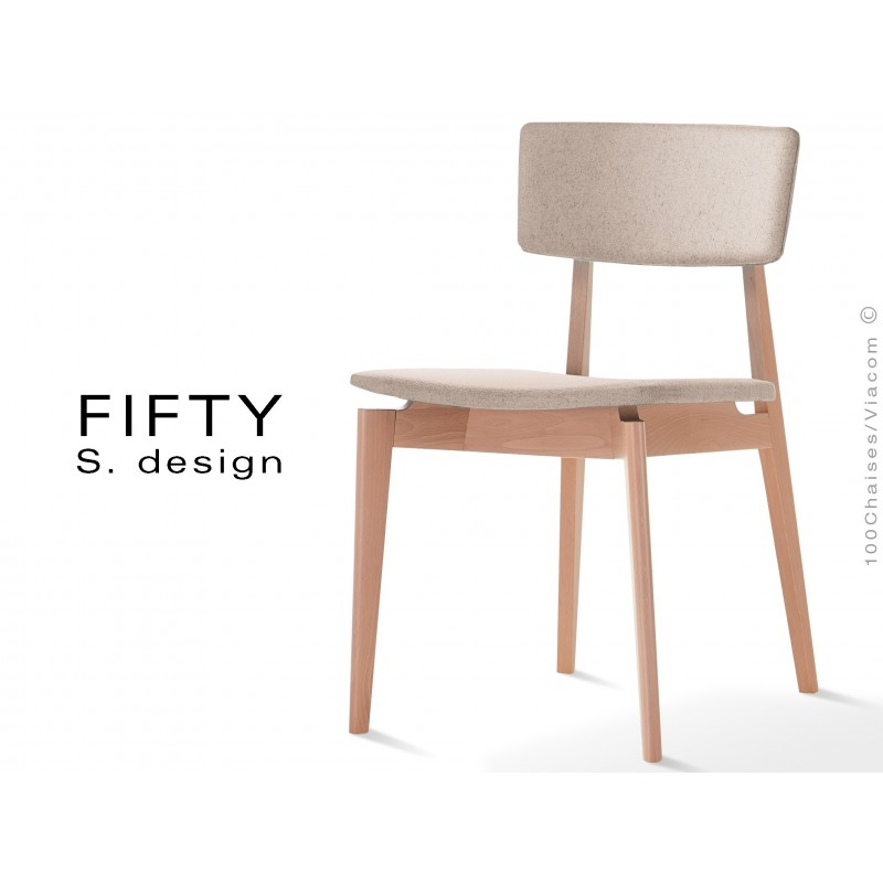 Chaise en bois FIFTY assise et dossier capitonnés feutre couleur beige