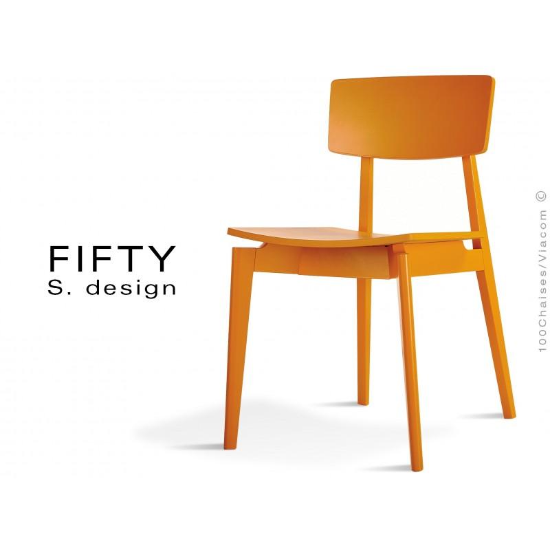 Chaise en bois FIFTY structure peinte orange
