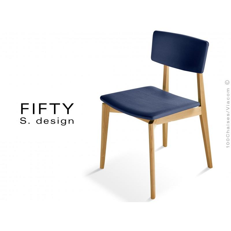 Chaise en bois FIFTY assise et dossier capitonnés aspect cuir, bleu marine