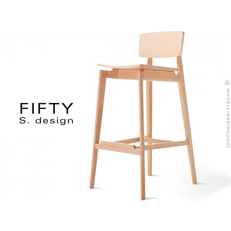 Tabouret bois avec dossier FIFTY assise et piétement bois teinté, hêtre naturel