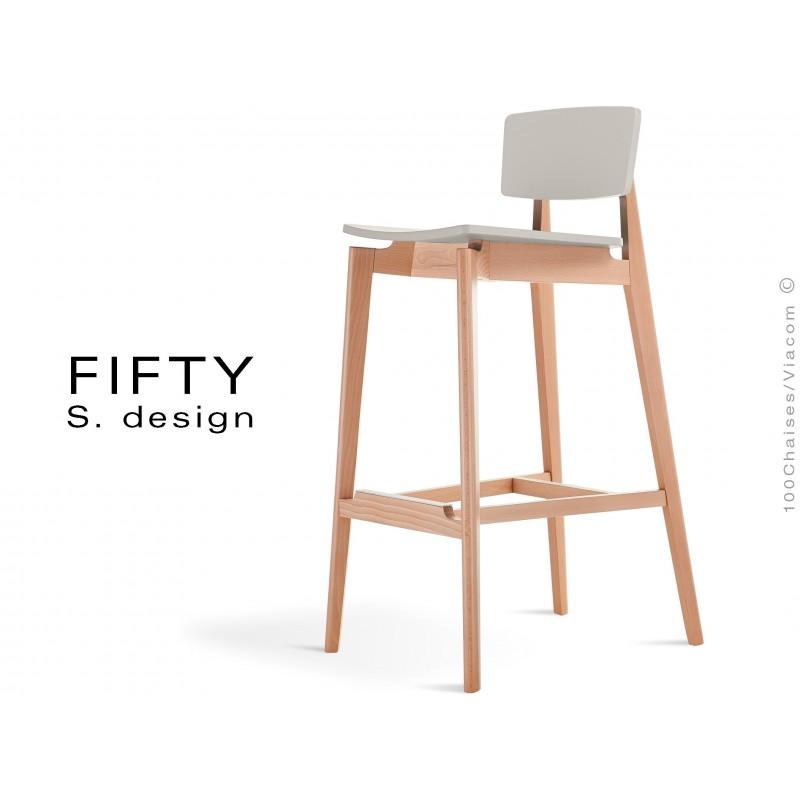 Tabouret bois FIFTY structure aspect naturel assise et dossier couleur blanc cassé
