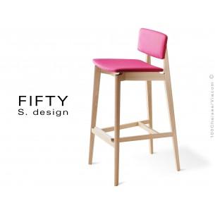 Tabouret bois FIFTY structure aspect naturel assise et dossier capitonnés 100% laine, couleur rose