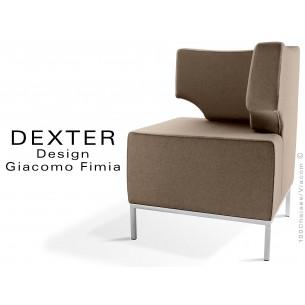 Banquette d'angle modulable DEXTER assise et dossier garnis habillage feutre couleur sable