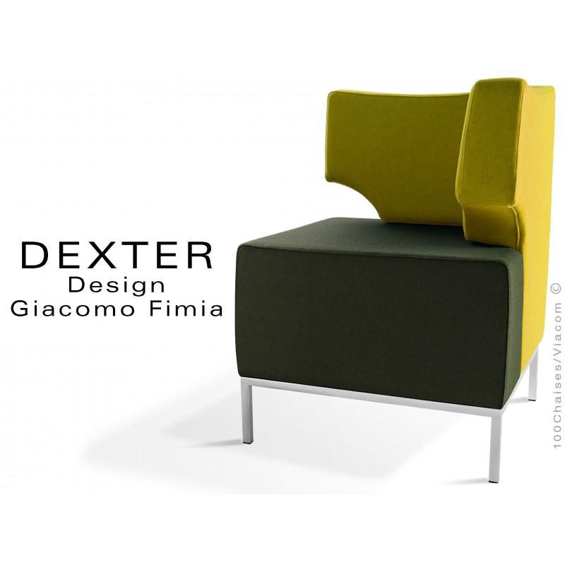 Banquette d'angle modulable 2 tons DEXTER assise et dossier, garnis habillage feutre 100% laine vert foncé et jaune.