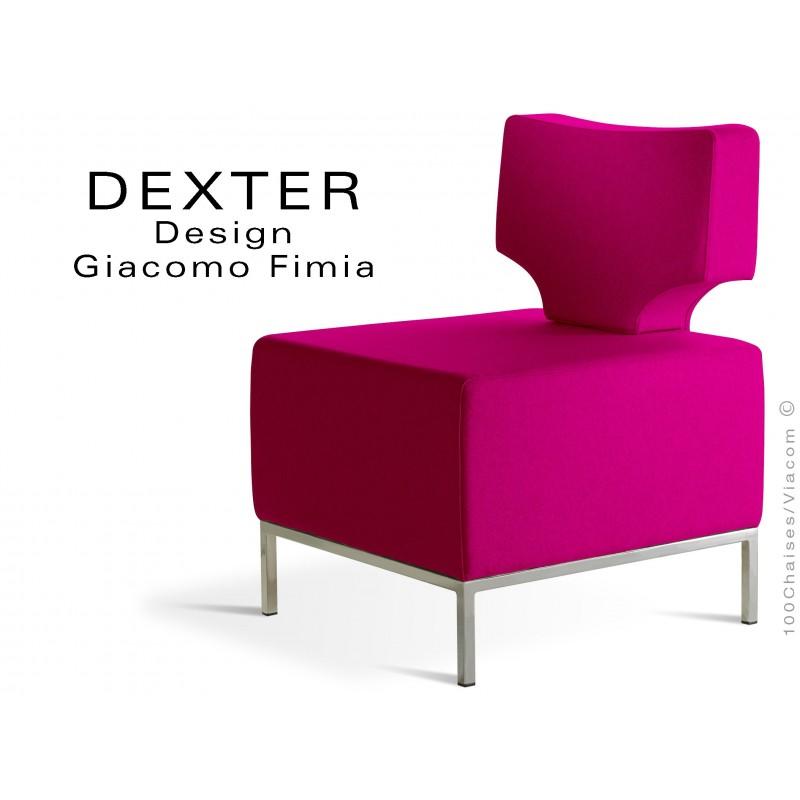 Banquette modulable DEXTER assise et dossier garnis habillage feutre couleur rose
