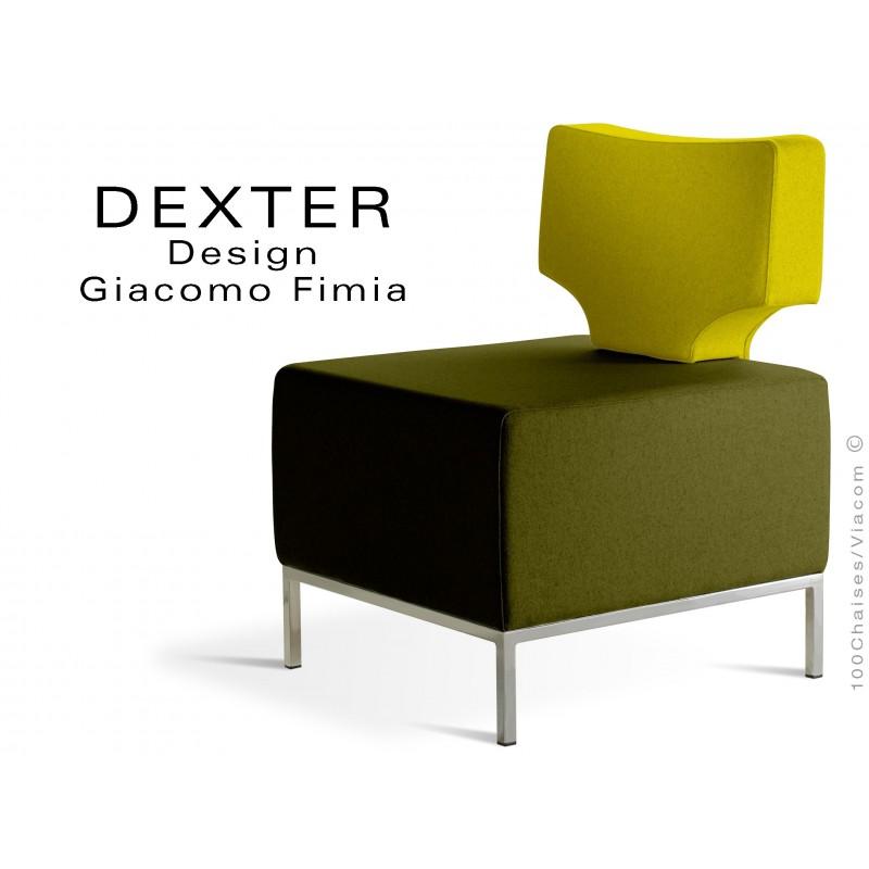 Banquette modulable 2 tons DEXTER assise et dossier garnis habillage feutre couleurs vert foncé et jaune