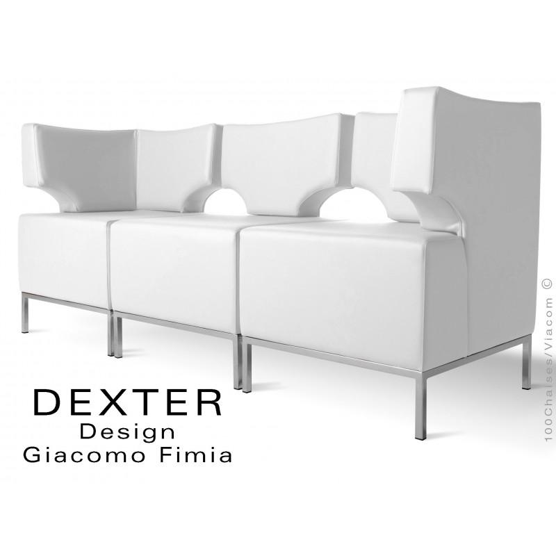 Banquette modulable DEXTER ensemble 3 modules, assise garnie habillage cuir synthétique, couleur blanc