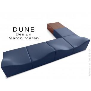 Banquette modulable DUNE-6 assise cuir synthétique bleu marine, caisson bois finition cerise
