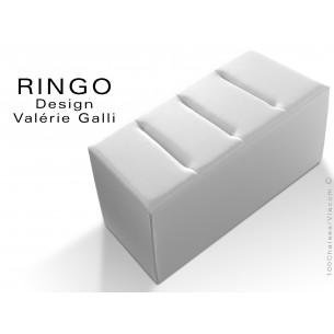 Banquette modulable ou pouf rectangualire RINGO, assise garnis habillage cuir synthétique couleur blanc