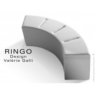 Banquette modulable courbe large RINGO, assise garnis habillage cuir synthétique couleur blanc