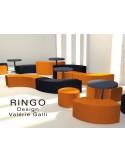 Exemple de compostion banquette modulable RINGO, assise garnis habillage cuir synthétique