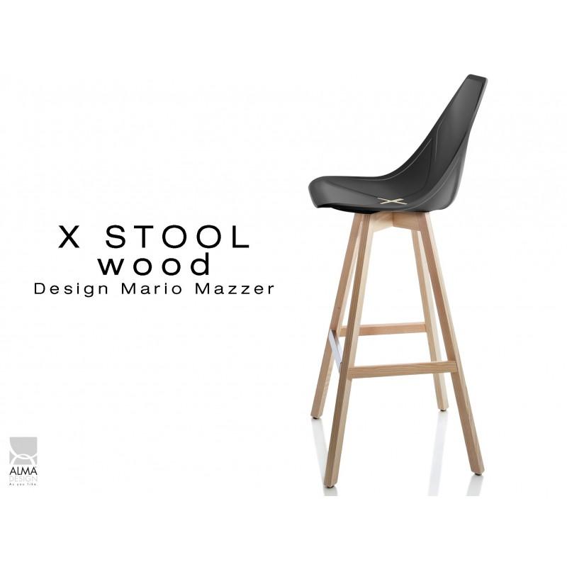 X-STOOL Wood 75 - piétement bois naturel assise coque noir - lot de 2 tabourets