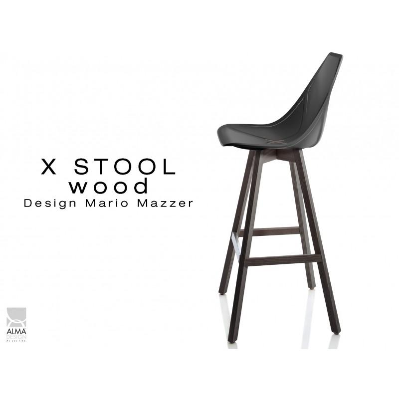 X-STOOL Wood 75 - piétement bois gris fer assise coque noir - lot de 2 tabourets