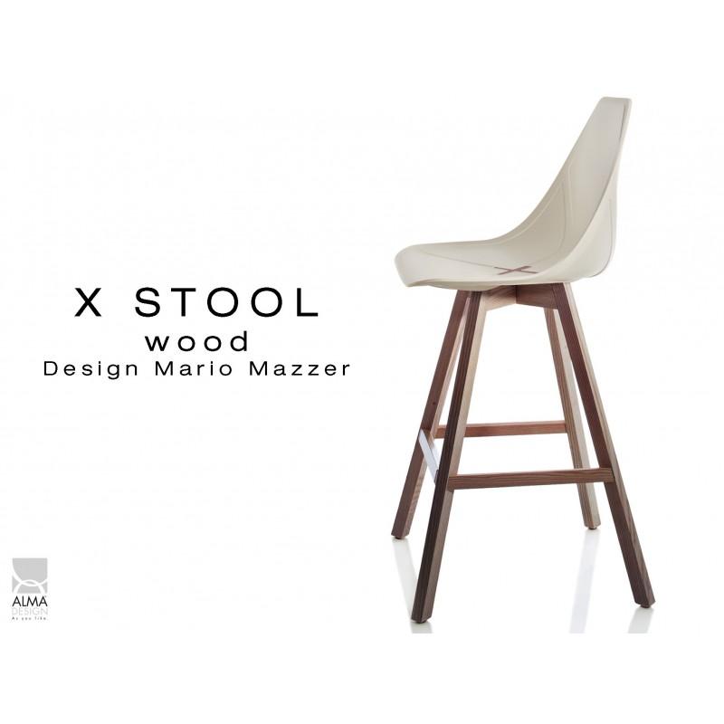 X-STOOL Wood 69 - piétement bois noyer assise coque sable clair - lot de 2 tabourets