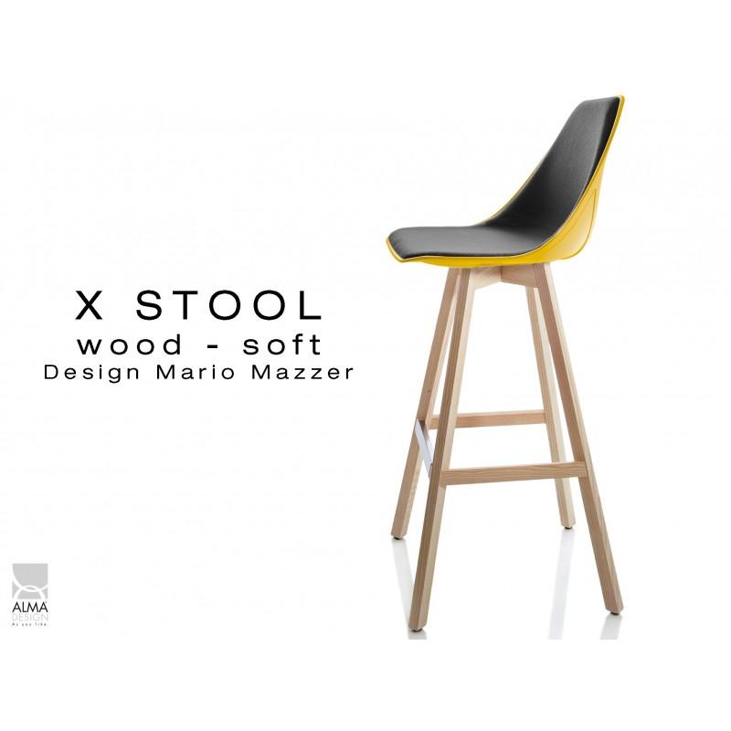 X-STOOL Wood Soft 75 - piétement bois naturel assise coque jaune capitonnée noir-TE33 - lot de 2 tabourets