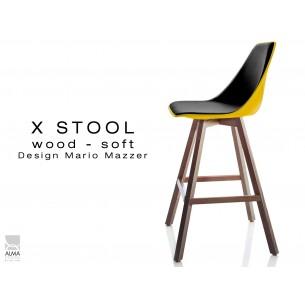 X-STOOL Wood Soft 69 - piétement bois noyer, coque jaune capitonnée TE33 - lot de 2 tabourets