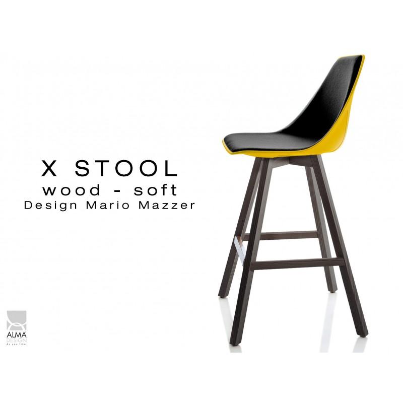 X-STOOL Wood Soft 69 - piétement bois gris fer, coque jaune capitonnée TE33 - lot de 2 tabourets