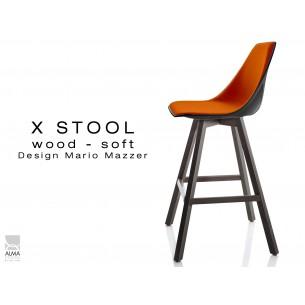 X-STOOL Wood Soft 69 - piétement bois gris fer assise coque noir capitonnée TE03 - lot de 2 tabourets