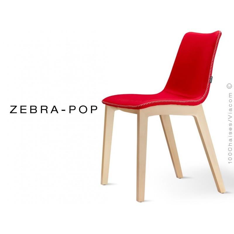 Chaise pieds bois en carré ZEBRA-POP assise plastique garnie habillage laine couleur rouge - Lot de 12 pièces